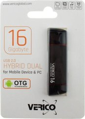 USB Flash Verico Hybrid Dual OTG USB 16Gb Black